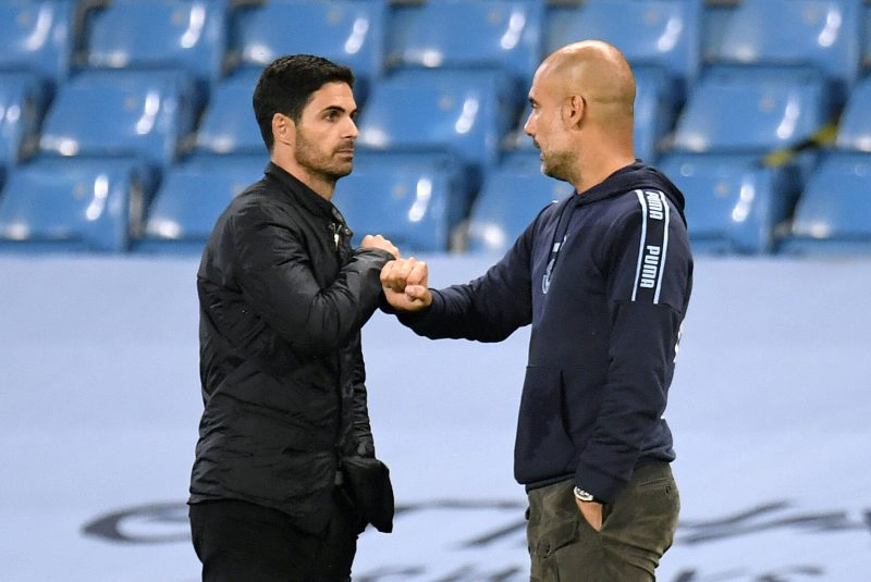 Mikel Arteta et Pep Guardiola