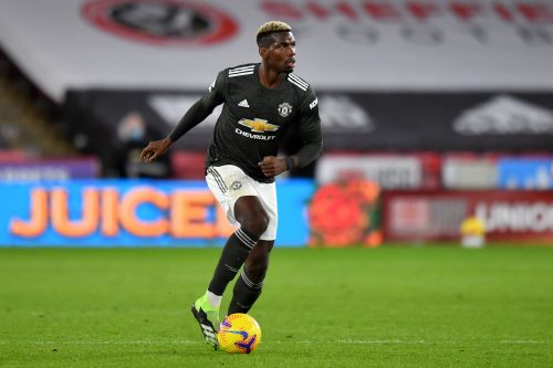 Paul Pogba en action face à Sheffield United